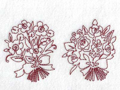 Continuous Line Red Bouquets Embroidery Machine Design