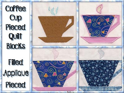 Coffee Cup Pieced Quilt Blocks