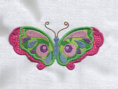 Colorful Applique Butterflies Embroidery Machine Design