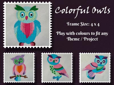 Colorful Owls Embroidery Machine Design