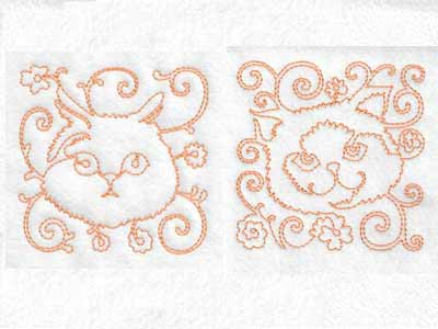 Continuous Line Cat Faces Embroidery Machine Design