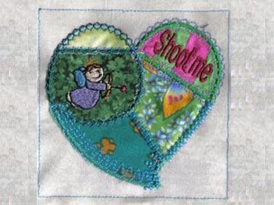 Machine embroidery designs crazy quilt applique hearts set