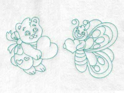 Cute Baby Animals With Hearts Embroidery Machine Design