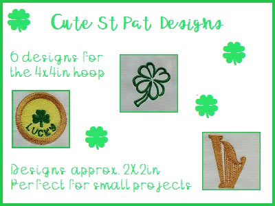 Machine Embroidery Designs - Cute St Patricks Designs Set