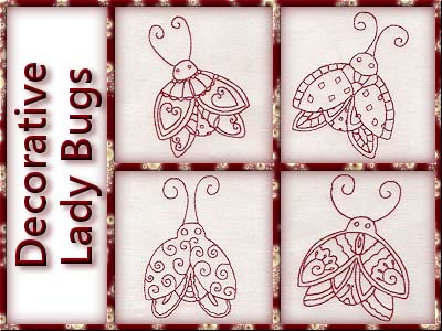 Decorative Lady Bugs Embroidery Machine Design