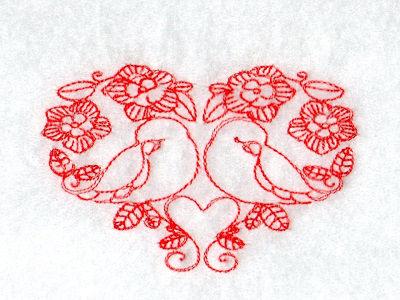 Machine Embroidery Designs Deco Valentine Birds Redwork Set