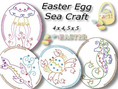 Easter Egg Sea Animals Embroidery Machine Design