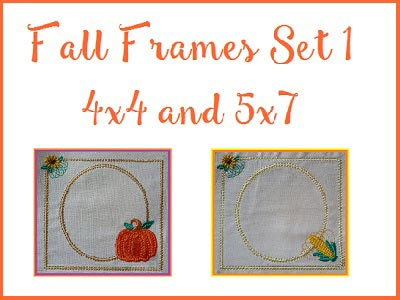 Machine Embroidery Designs - Fall Frames 1 Set