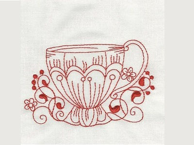 Fancy Tea Cups Redwork Embroidery Machine Design