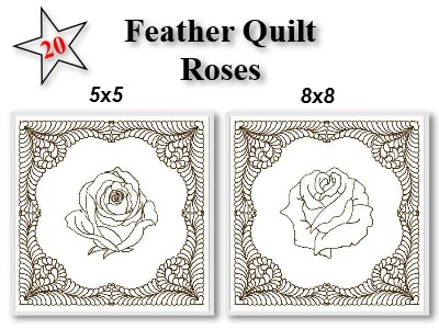 Feather Block Roses Embroidery Machine Design