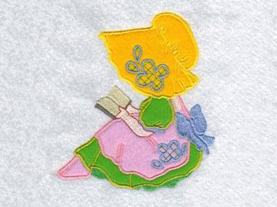 Machine embroidery designs applique floral sunbonnets set
