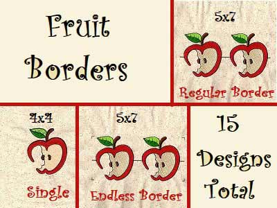 Fruit Borders Embroidery Machine Design