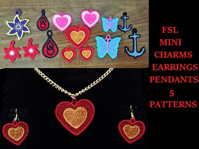 FSL Earrings Charms and Pendants Embroidery Machine Design