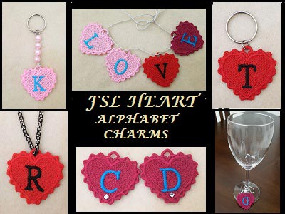 FSL Heart Alphabet Charms
