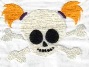 Girly Skulls Embroidery Machine Design