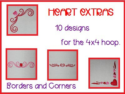 Heart Extras Embroidery Machine Design
