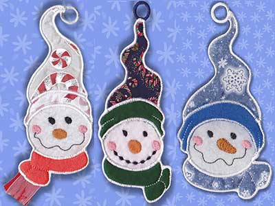 In The Hoop Applique Snowmen Gift Card Holders