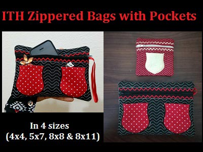 In The Hoop Zippered Bags with Pockets