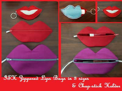 In The Hoop Zippered Lip Bags Embroidery Machine Design