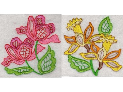 Machine Embroidery Designs Jacobean Flowers Set