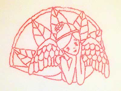 Line Art Christmas Angels Embroidery Machine Design