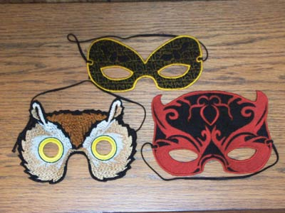 Halloween and Mardi Gras Masks Embroidery Machine Design