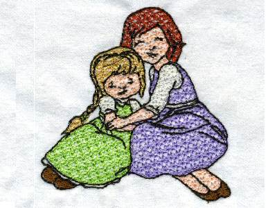 Mother and Daughter Embroidery Machine Design