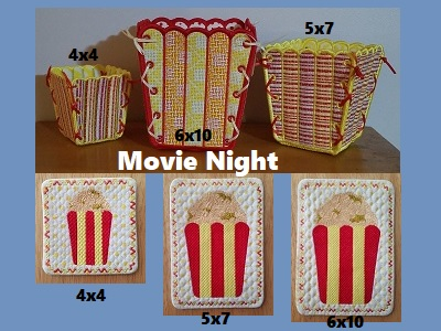 Movie Night Embroidery Machine Design
