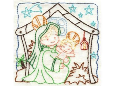 Nativity Color Work Embroidery Machine Design