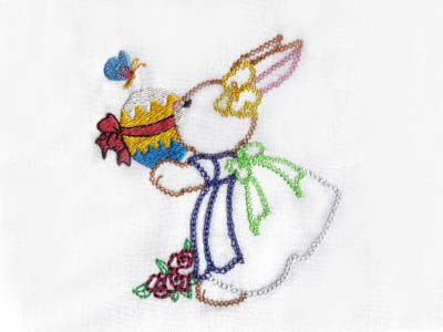 Nostalgic Embroidery Bunnies Embroidery Machine Design