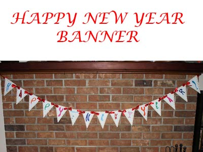 Happy New Year Banner Embroidery Machine Design