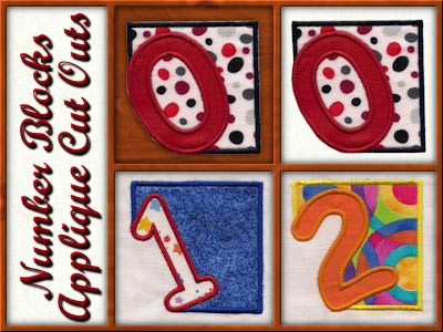 Machine Embroidery Designs Number Block Cutout Set