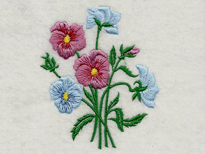 Pansies and Violets 1 Embroidery Machine Design