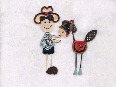 Patchy Cowboys and Horses Embroidery Machine Design