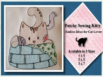 Patchy Sewing Kitty Embroidery Machine Design