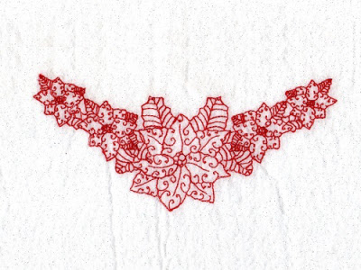 Redwork Poinsettias Embroidery Machine Design