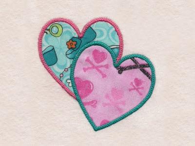 Machine embroidery designs spring applique hearts set
