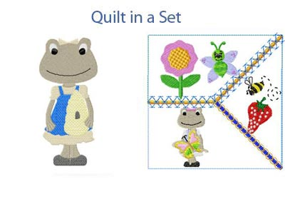 Spring Frogs Embroidery Machine Design