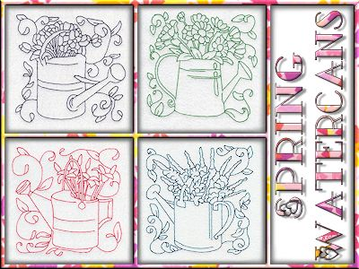 Spring Watercans Blocks Embroidery Machine Design