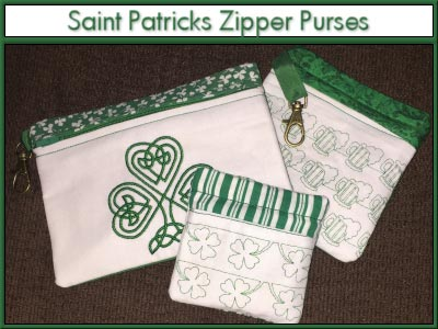 Saint Patrick Zipper Purses Embroidery Machine Design