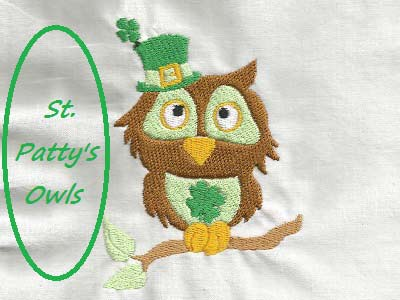 St Patty Owls Embroidery Machine Design