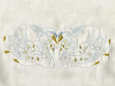 Swans Embroidery Machine Design