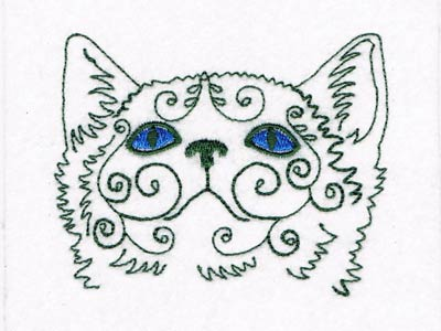 Machine Embroidery Designs Swirly Cat Faces Set
