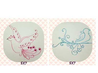 Swirly Doves Embroidery Machine Design