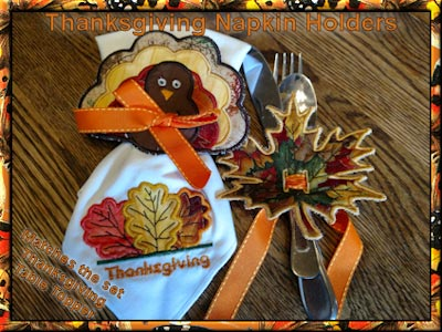 In The Hoop Free Standing Applique Thanksgiving Napkin Holders