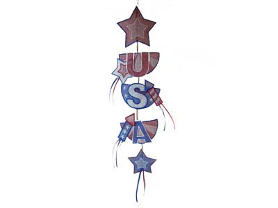 USA Banner Embroidery Machine Design