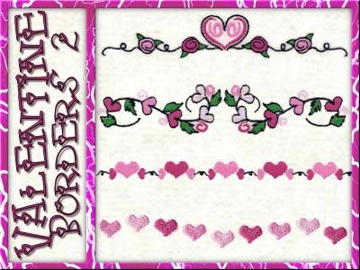 machine embroidery designs valentine border 2 set