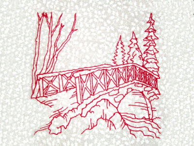 Winter Village Scenes Embroidery Machine Design