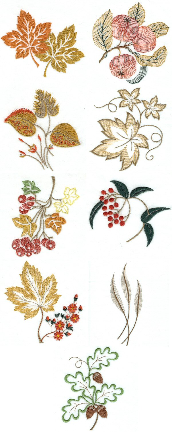 Machine embroidery designs autumn leaves set