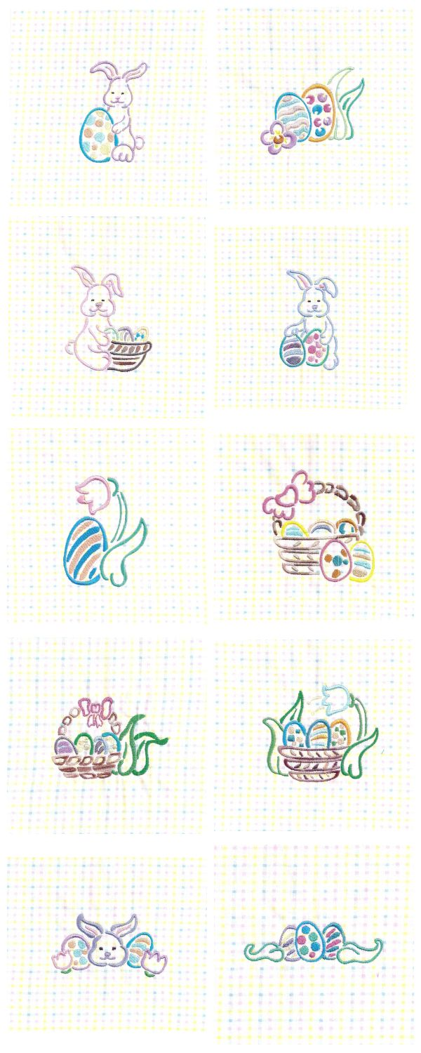 Easter Outlines Embroidery Machine Design Details